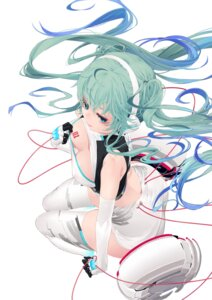 Rating: Questionable Score: 21 Tags: ass breast_hold cleavage erect_nipples hatsune_miku headphones no_bra oohhya tattoo thighhighs vocaloid User: yanis