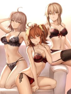 Rating: Questionable Score: 83 Tags: bra cleavage fate/grand_order female_protagonist_(fate/grand_order) jeanne_d'arc jeanne_d'arc_(alter)_(fate) lingerie mashu_(003) pantsu saber saber_alter stockings string_panties thighhighs User: Spidey