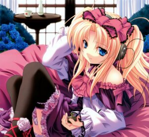 Rating: Safe Score: 42 Tags: headphones kanojo-tachi_no_ryuugi lolita_fashion miyama-zero shirogane_tobari thighhighs User: midzki