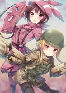 Rating: Safe Score: 42 Tags: bodysuit fukaziroh gun gun_gale_online hazuki_(sutasuta) llenn pantyhose sword_art_online_alternative:_gun_gale_online User: RyuZU