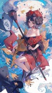 Rating: Questionable Score: 35 Tags: fate/grand_order japanese_clothes katsushika_hokusai_(fate/grand_order) maccha_(mochancc) no_bra open_shirt skirt_lift User: Dreista