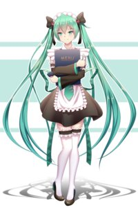 Rating: Safe Score: 23 Tags: geduan hatsune_miku heels maid thighhighs vocaloid waitress User: Mr_GT