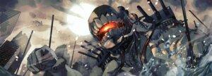 Rating: Safe Score: 23 Tags: battleship-symbiotic_hime dress fujita_(condor) garter horns kantai_collection no_bra wet User: Mr_GT