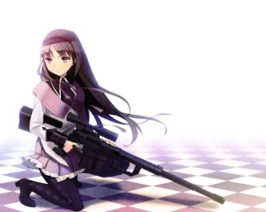 Rating: Safe Score: 30 Tags: akemi_homura gun kotetu pantyhose puella_magi_madoka_magica User: Nekotsúh