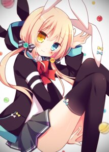 Rating: Safe Score: 46 Tags: animal_ears bunny_ears heterochromia hoshi seifuku thighhighs User: Mr_GT