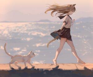 Rating: Safe Score: 43 Tags: animal_ears kouyafu neko nekomimi seifuku skirt_lift tail User: hiroimo2