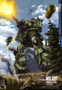 Rating: Safe Score: 10 Tags: gundam mecha mobile_suit_gundam ms-06_zaku_ii teraoka_iwao User: Radioactive