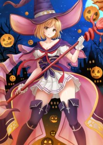 Rating: Safe Score: 39 Tags: cleavage dress gita_(granblue_fantasy) granblue_fantasy halloween kazenokaze thighhighs weapon witch User: Mr_GT
