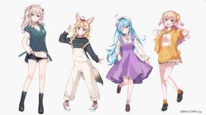 Rating: Safe Score: 23 Tags: animal_ears dress dress_shirt hololive kitsune momosuzu_nene omaru_polka overalls pointy_ears shishiro_botan sweater tail yukihana_lamy yushima User: Dreista
