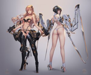 Rating: Questionable Score: 90 Tags: armor bikini_armor gun heels lovecacao sword thong User: Darkthought75