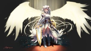 Rating: Safe Score: 52 Tags: armor heels puzzle_&_dragons ranyu_kuro sword valkyrie_(p&d) wings User: Arkon