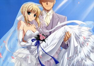 Rating: Safe Score: 42 Tags: cleavage dress fate/stay_night ishii_kumi saber wedding_dress User: Aurelia