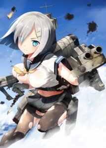 Rating: Questionable Score: 56 Tags: bell_(satappe) cleavage hamakaze_(kancolle) kantai_collection pantyhose see_through seifuku torn_clothes User: fairyren