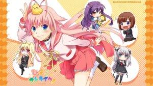 Rating: Safe Score: 12 Tags: chibi ex-it hiyoko_strike! kagami_utakata misaki_juri seifuku wallpaper User: maurospider