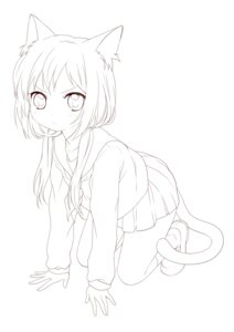 Rating: Safe Score: 7 Tags: animal_ears line_art namori nekomimi seifuku sketch tail User: fireattack