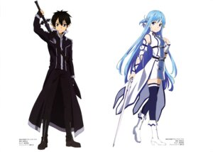 Rating: Safe Score: 43 Tags: alfheim_online asuna_(sword_art_online) hagiwara_hiromitsu heels kirito pointy_ears sword sword_art_online thighhighs User: drop