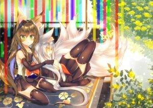 Rating: Safe Score: 34 Tags: animal_ears kitsune saichuu seifuku tail thighhighs User: RyuZU