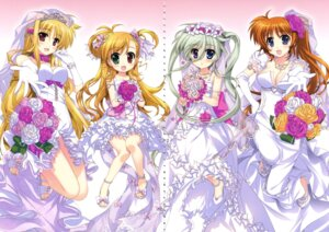 Rating: Questionable Score: 25 Tags: cleavage dress einhart_stratos fate_testarossa fujima_takuya gap mahou_shoujo_lyrical_nanoha mahou_shoujo_lyrical_nanoha_vivid takamachi_nanoha vivio wedding_dress User: crim