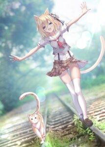 Rating: Safe Score: 42 Tags: animal_ears neko nekomimi seifuku skirt_lift tail thighhighs ukiwakisen User: hiroimo2