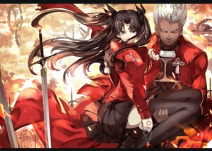 Rating: Safe Score: 35 Tags: archer fate/stay_night saberiii sword tattoo thighhighs toosaka_rin User: Mr_GT