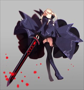 Rating: Safe Score: 55 Tags: dress fate/stay_night fate/unlimited_codes hakusai heels no_bra saber saber_alter stockings sword thighhighs User: nphuongsun93