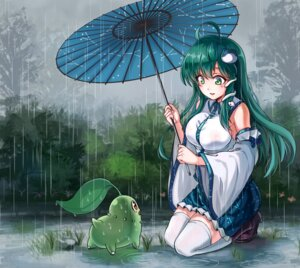 Rating: Safe Score: 40 Tags: chikorita crossover kochiya_sanae koissa pokemon thighhighs touhou umbrella User: Mr_GT