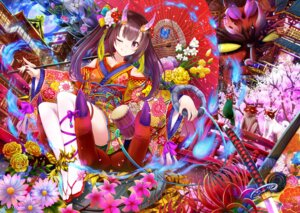 Rating: Safe Score: 4 Tags: horns kimono nichika_(nitikapo) thighhighs umbrella User: Mr_GT