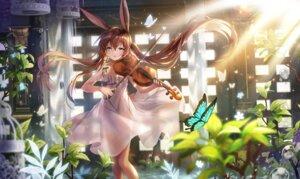 Rating: Questionable Score: 23 Tags: amiya_(arknights) animal_ears apple-caramel arknights bunny_ears dress see_through skirt_lift summer_dress User: Mr_GT