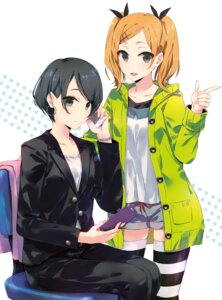 Rating: Safe Score: 59 Tags: disc_cover okitsu_yuka ponkan_8 shirobako thighhighs yano_erika User: WcDuck
