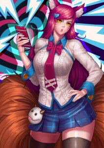Rating: Safe Score: 25 Tags: ahri animal_ears gonster kitsune league_of_legends seifuku tail thighhighs User: Mr_GT