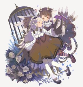 Rating: Questionable Score: 15 Tags: animal_ears dress einri heels monster_girl pantyhose yuri User: sym455