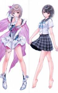Rating: Safe Score: 54 Tags: blue_reflection cleavage heels heterochromia kishida_mel seifuku shirai_hinako skirt_lift User: NotRadioactiveHonest