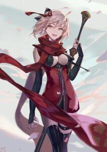 Rating: Safe Score: 35 Tags: fate/grand_order garter majin_saber no_bra rabbit_(tukenitian) sword thighhighs User: Mr_GT