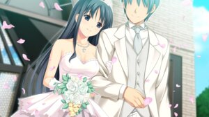 Rating: Safe Score: 24 Tags: cleavage dress fukami_nagisa koutaro tropical_vacation wedding_dress User: abdulaziz5