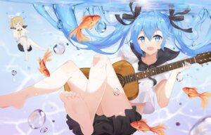 Rating: Safe Score: 29 Tags: bottle_miku feet guitar hatsune_miku kagamine_rin nakor. seifuku shirt_lift vocaloid wet User: yanis