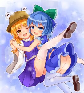 Rating: Questionable Score: 11 Tags: ass bushi_(1622035441) cirno moriya_suwako nopan skirt_lift thighhighs touhou wings User: Mr_GT