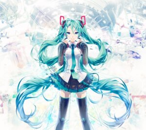 Rating: Safe Score: 61 Tags: hatsune_miku ixima thighhighs vocaloid User: Tyrell