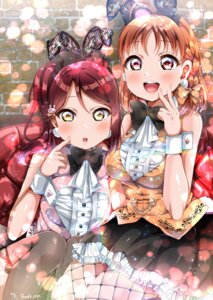 Rating: Safe Score: 13 Tags: animal_ears bunny_ears bunny_girl fishnets love_live!_sunshine!! panda_copt pantyhose sakurauchi_riko tail takami_chika thighhighs User: saemonnokami