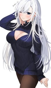 Rating: Questionable Score: 30 Tags: azur_lane belfast_(azur_lane) cleavage dress pantyhose sweater xretakex User: Arsy