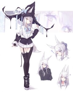 Rating: Safe Score: 25 Tags: animal_ears cre7 expression heterochromia kitsune megane seifuku stockings tail thighhighs witch User: whitespace1