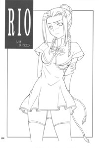 Rating: Safe Score: 5 Tags: hozumi_takashi monochrome p-forest rio_meilong super_robot_wars thighhighs User: Radioactive