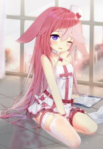 Rating: Questionable Score: 71 Tags: animal_ears benghuai_xueyuan bunny_ears fishnets fufumi garter nurse stockings thighhighs yae_sakura_(benghuai_xueyuan) User: sym455