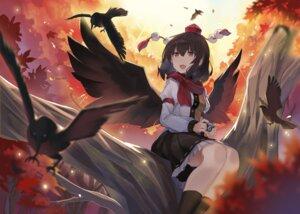 Rating: Safe Score: 10 Tags: rin_falcon shameimaru_aya skirt_lift touhou wings User: BattlequeenYume