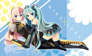 Rating: Safe Score: 28 Tags: hatsune_miku headphones hijiki megurine_luka thighhighs vocaloid User: fairyren