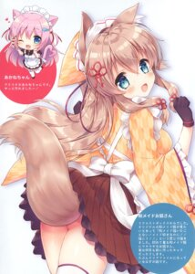 Rating: Questionable Score: 45 Tags: animal_ears kitsune maid natsuki_marina nopan skirt_lift tagme tail thighhighs wa_maid waitress User: Radioactive