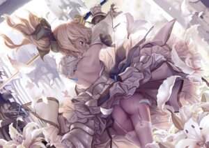 Rating: Questionable Score: 129 Tags: armor ass dress fate/stay_night geister saber saber_lily stockings sword thighhighs thong User: nquanta