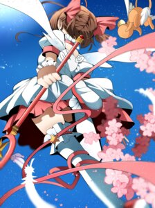 Rating: Questionable Score: 19 Tags: card_captor_sakura dress fumiko_(miruyuana) kero kinomoto_sakura thighhighs weapon wings User: charunetra