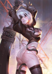 Rating: Questionable Score: 58 Tags: ass blood bondage cleavage dress leotard nier_automata see_through sword tentacles thighhighs wet xiao_duzi yorha_no.2_type_b User: mash