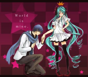 Rating: Safe Score: 17 Tags: hatsune_miku kaito thighhighs vocaloid world_is_mine_(vocaloid) yoyorugi User: AkaBaka_HatsuneMiku